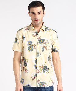 Mens Creamy Big Flower Print Half Sleeves Cotton Shirt