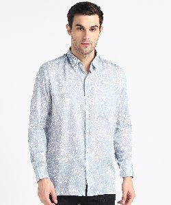 Mens Light Blue Block Printed Half Sleeves Cotton Shirt