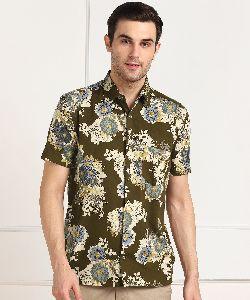 Mens Mehandi Green Printed Half Sleeves Cotton Shirt