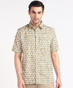 Mens Mustard Yellow Kari Printed Half Sleeves Cotton Shirt