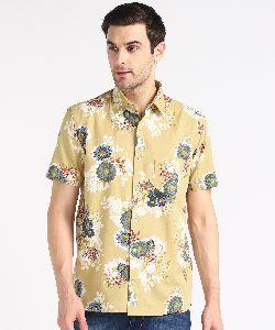Mens Pale Yellow Big Flower Print Half Sleeves Cotton Shirt