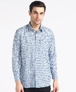 Mens Pati Blue Printed Full Sleeves Cotton Shirt