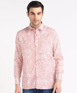 Mens Pink Block Printed Full Sleeves Cotton Shirt