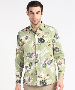 Mens Sea Green Big Flower Print Full Sleeves Cotton Shirt