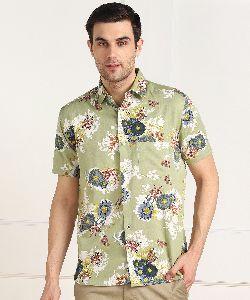 Mens Sea Green Big Flower Print Half Sleeves Cotton Shirt
