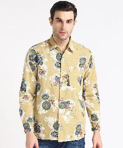 Mens Yellow Big Flower Print Full Sleeves Cotton Shirt