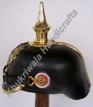 H128 German WW2 Leather Pickelhaube Helmet