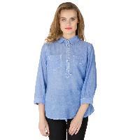 Blue Cotton Short Kurtis (60073BL-2)