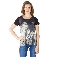 Digital Printed Black Cotton Tops (64-0788-2)