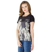 Digital Printed Black Cotton Tops (64-0788-3)