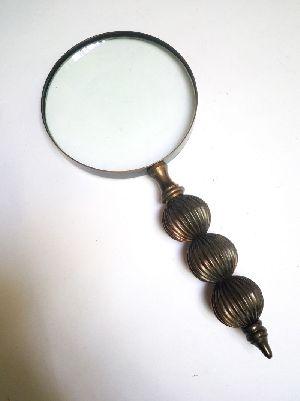 HHC19 Antique Wood Brass Magnifier