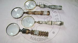 Antique Wood Brass Magnifiers