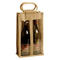 Two Bottle Jute Wine Bags