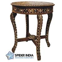 Bone Inlay Round Teak Wood Table