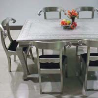 Embossed White Metal Dining Table Set