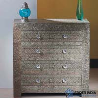 Embossed White Metal Drawer Chest  Dresser