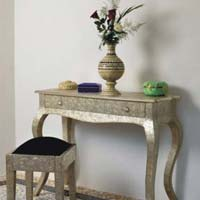Embossed White Metal French Console Table