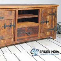 Rustica Reclaimed Wood 2 Door 1 Drawer TV Stand