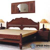 Teak Barmeri Fine Carved Wooden Bed