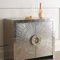 White Metal Inlay Cabinet