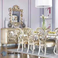 White Metal Inlay Dining Set