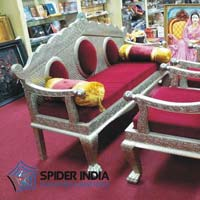 White Metal Inlay Sofa Set