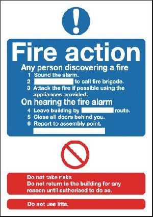 Fire Action Standard Signage