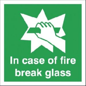 In Case Of Fire Break Glass Signage