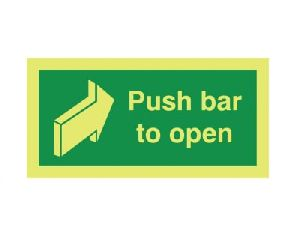 Nite Glo Photoluminescent Push Bar To Open Signage