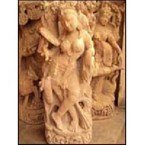 Sandstone Apsara Statues