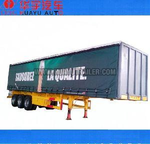 3 axle curtain semi trailer