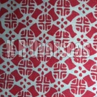Mikado Coral Red Printed Cotton Fabric
