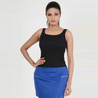 Blue Silver zipper Mini Party Skirt