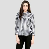 Check shirt With Tab Sleeves