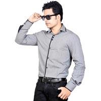 Grey Plain Party Wear Shirt