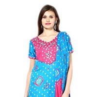 Bandhani Pink Firoji Dress Material