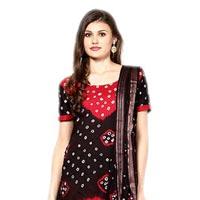 Bandhani Red Black Dress Material