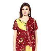 Bandhani Yellow Red Dress Material