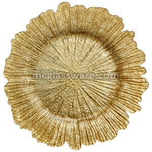 Gold Reef Glass Charger Plate