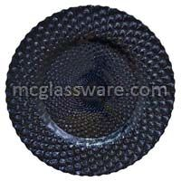 Athena Black Glitter Glass Charger Plates