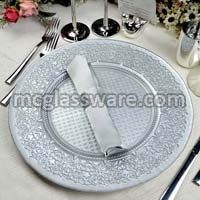Babylon Silver Glass Charger Plate