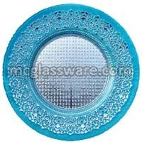 Babylon Silver Blue Glass Charger Plates