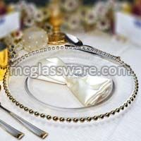 Gold Beaded Clear Glass Charger Plates