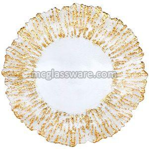 Gold Flower Shaped Glass Charger Plates