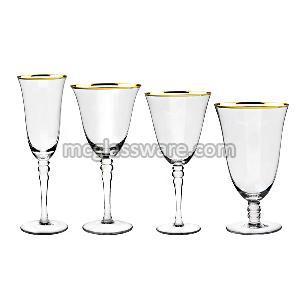 Gold Rimmed Goblet Crystal Glass
