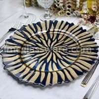 Halley Gold Blue Glass Glass Charger Plates