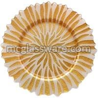 Halley Gold White Glass Charger Plates