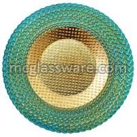 Harvest Teal Glass Charger Plates