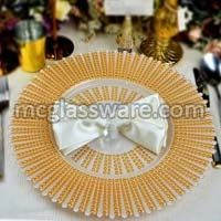 New Look Quantum Gold Glass Charger Plates