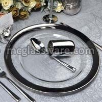Silver Rimmed Clear Glass Charger Plate